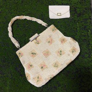 Vintage Corde Bead Floral Evening Purse Handbag